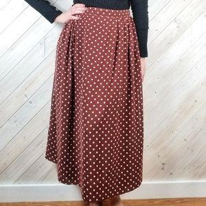 VINTAGE Polka Dot High Waisted Midi Skirt